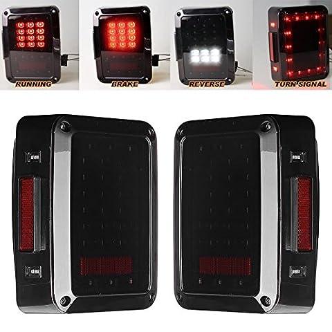 Klare Linse LED Rücklicht für 2007-2015 Jeep Wrangler JK CJ TJ Rücklicht Bremse Rückseite Drehen Blinker Zurück, bis hinten Parking Stop Licht Tagfahrlicht Lampe Tagfahrlicht