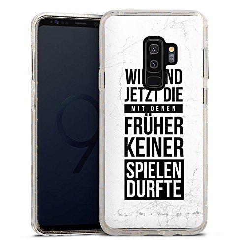 DeinDesign Samsung Galaxy S9 Plus Bumper Hülle gold transparent Bumper Case Schutzhülle Glitzer Look Humor Fun Sayings