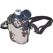 GFEI Hervidor de agua, camuflaje, Hervidor de agua de formación militar, al aire libre, escalada, 1 litro de acero inoxidable Cantina militar