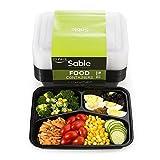 [20er Pack] 3-Fach Meal Prep Container Set Sable Behälter zur Vorbereitung von Essen 0,9KG Bentoboxen mit drei Bereichen, BPA-frei, wiederverwendbar