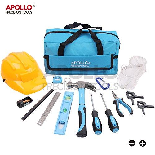Apollo 15-teiliges Kinder-Werkzeugset mit echten Handwerkzeugen, einschließlich Sicherheitbrille und Spielzeughelm - Alles in einer praktischen Aufbewahrungstasche