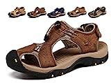 Sandales de Marche Homme Cuir Chaussure Plage Bout Été Respirant Randonnée Fermé Ouvert Trekking Fisherman Leather (42/42.5 EU, Marron Foncé)