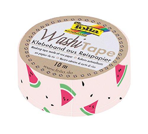 folia 26069 - Washi Tape, Klebeband aus Reispapier, Melonen, 1 Rolle ca. 10 m x 15 mm - ideal zum Verzieren und Dekorieren -