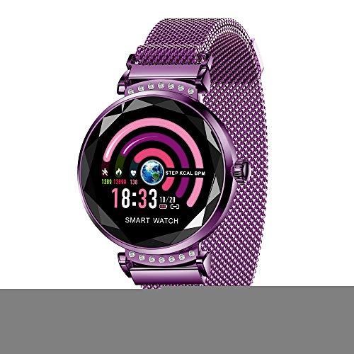 JAYLONG Women Smart Watch mit Gemstone-Schneidglas, Herzfrequenz-Blutdruck Monitor Frauenzeit Erinnerung IP67 Wasserdichtes Damenarmband,PurpleSoul