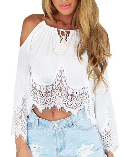 Bigood T-shirt Femme Mousseline de Soie Dentelle Chemise Epaule Nue Top Chemisier Blouse Eté Blanc