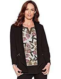 M&Co Ladies Longline Rolled Sleeve Open Front Zip Pocket Crepe Jacket