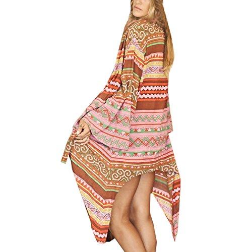 Vovotrade Sommer Frauen Geometrie Unregelmäßigkeit Chiffon Lange Kimono Strickjacke Übergroße Schal Blusen Sheer Tops (Size:XL, Multicolor)