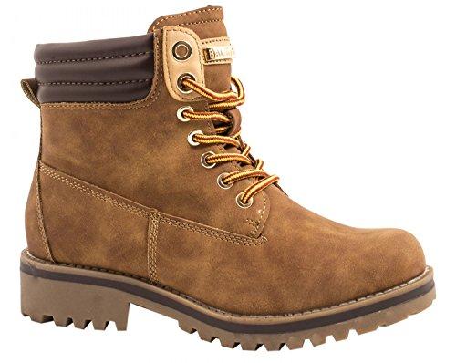 Elara Damen Stiefeletten   Profilsohle Schnürer   Worker Boots   Warm Gefüttert   chunkyrayan ZY9208-Camel-40 (Damen Flache Stiefel Camel)