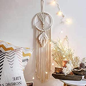 Aotoer Großer Traumfänger Boho Makramee Traumfänger aus Baumwolle gewebtes Makramee Wandbehang für Hochzeit Dekoration…