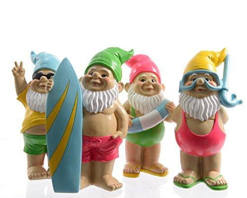 Unbekannt Zwerg Gartenzwerg Gnom Gartendeko Figuren Garten Surfbrett Schwimmring Taucherbrille Sonnenbrille Poly-Zwerg Stückpreis H ca. 28 cm
