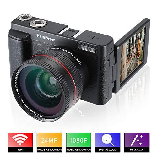 Fotocamera digitale e videocamera ,fambrow full hd 1080p wifi camcorder 24mp 16x zoom digitale macchina fotografica con obiettivo grandangolare,3.0 pollici rotazione schermo lcd