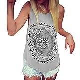 Mujer camiseta,Sonnena   Patrón de sol estampado sin manga camiseta para mujer y chica joven casual sexy traje de verano fresco para citas Actividades al aire libre (L2, GRIS)