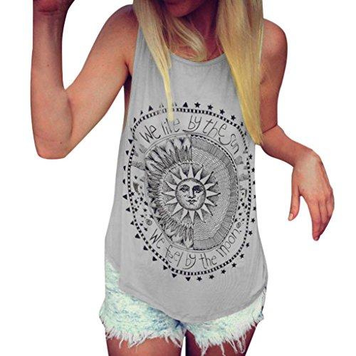 Mujer camiseta,Sonnena ❤️ ❤️ Patrón de sol estampado sin manga camiseta para mujer y chica joven casual sexy traje de verano fresco para citas Actividades al aire libre (L3, GRIS)