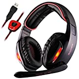 Sades SA902 7.1 Channel Virtual USB Surround Stereo Wired PC Gaming Headset Over Ear Laptop Headphones with Mic Revolution Volume Control Noise Canceling LED Light (Black/Red)