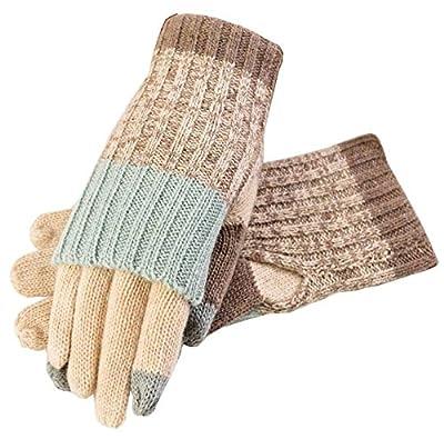 Bow Wollhandschuhe,Touchscreen Handschuhe Damen,Touch-Screen-Lady bezieht sich auf die warmen Handschuhe,Wolle bezieht sich auf Halbhandschuhe,Khaki,Der gesamte Code von DXFGJKDLJF auf Outdoor Shop