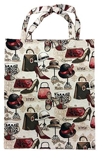 ILKADIM Einkaufstasche, Stofftasche Leinen 40 x 32cm, Motiv Mode, Einkaufsbeutel Gobelin-Stil -