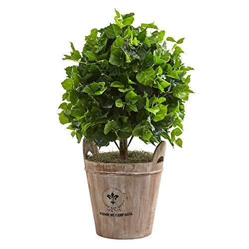 Nearly Natural 9091 2.5-Ft. Ficus Artificial Farmhouse Planter Silk Trees, Green