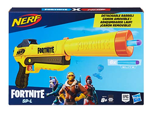 NERF E6717EU4 SP-L Blaster with Detachable Barrel and 6 Official Fortnite Elite Darts for Youth, Teens, Adults, Multicolour Best Price and Cheapest