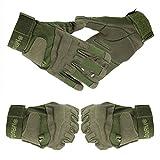 Yihya Transpirable Militar Táctico Combate Airsoft Ciclismo Bicicleta Motos Completa del Dedo Guantes Full Finger Antideslizante Gloves Protección de Mano sin dedos para Caza Mountaineer Trekking Material de Fibra Sintética--- verde militar - M