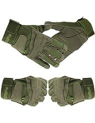 Yihya Transpirable Militar Táctico Combate Airsoft Ciclismo Bicicleta Motos Completa del Dedo Guantes Full Finger Antideslizante Gloves Protección de Mano sin dedos para Caza Mountaineer Trekking Material de Fibra Sintética--- verde militar - L