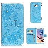 Boxtii® - Funda de piel sintética tipo cartera para iPhone 6/iPhone 6s, con ranuras para tarjetas y protector de pantalla de vidrio templado, función atril, diseño de flores y mariposas