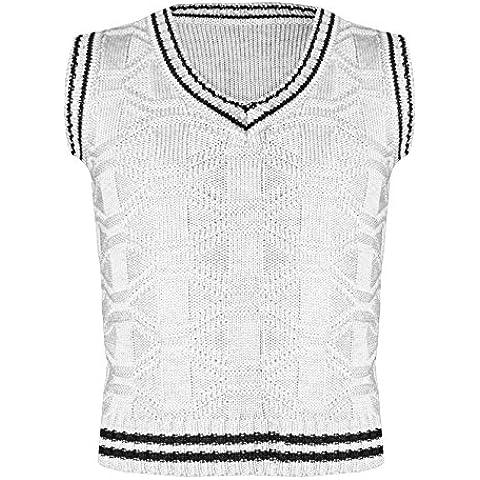 Jersey de punto para niños, cuello en V, sin mangas, clásico jersey sin mangas para niños