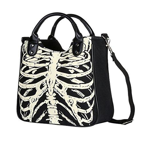 Vbiger Di moda Borse Tote Scheletro Borsa a tracolla Borsa di tela fresca Elegante borsa Messenger per donne(Black) Nero