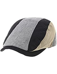 WITHMOONS Sombreros gorras Boinas Bombines Flat Cap Linen Vertical Patch Houndtooth Pattern LD3609