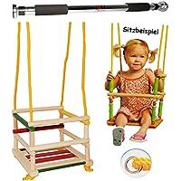 alles-meine.de GmbH Schaukel aus Holz + Türreck - Gitterschaukel / Kinderschaukel - Leichter Einstieg ! - mitwachsend & verstellbar - Babyschaukel - Kleinkindschaukel verstellbar..