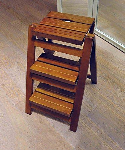 ZEMIN Escabeau Salle Bois Chaise Escalier Portable Échelle Chaise Escabeau Tabouret en Bois Massif Trois étapes Multi Fonctions, Marron, 42,5 * 55,5 * 46 cm (Taille : 42.5 * 55.5 * 46CM)