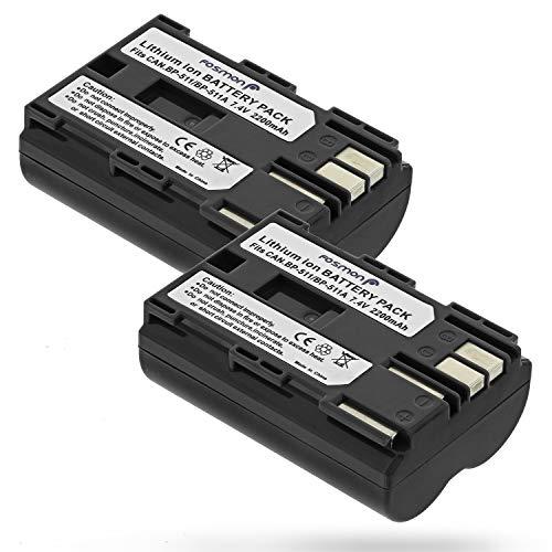 Fosmon (2 Pack) 7,4V 2200 mAh Canon BP 511/BP 512 Ersatz Liion Akku Batterie für Canon EOS 10D, 20D, 20Da, 30D, 40D, 50D, 5D, D30, D60/PowerShot G1, G2, G3, G5, G6/EOS Digital Rebel/Optura Xi -