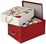 XXL Dekokarton in Rot - formschön und hochwertig. Mit Einsätzen für max. 40 Christbaumkugeln oder Weihnachtsdeko. Karton aus stabiler Pappe in Rot mit Griffen aus Kunststoff! Topp