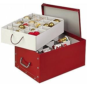 XXL Dekokarton in Rot – formschön und hochwertig. Mit Einsätzen für max. 40 Christbaumkugeln oder Weihnachtsdeko. Karton…