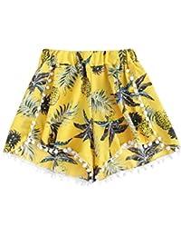 SHOBDW Moda para Mujer de Verano de Encaje Sexy impresión Cintura Media  hasta la Rodilla Suelta Pantalones Cortos de Cintura elástica… 8395eeb0b5b9