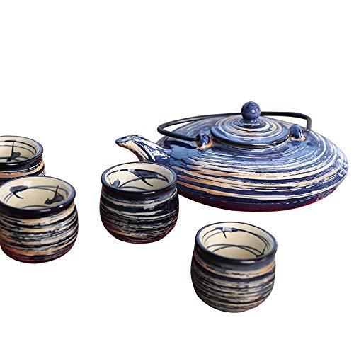 Panbado 800 ml Teekanne mit 4 Teetassen 50 ml, Japanisch Tee Set aus Steinzeug, Geschenk für Weihnachten (Eine Chinesische Tee-geschenk-set)