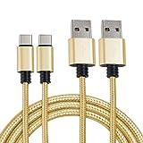 MyGadget 2X Typ C Nylon Kabel 1M - Datenkabel für USB C Geräte - Type C Ladekabel für z.B. Samsung Galaxy S9 S8, Huawei P20 Pro P10, HTC U11 in Gold