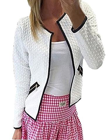 ZANZEA Printemps Femme Jacket à Manches Longues Ouvert Slim Cardigan Blouson Casual Blazer Coat Blanc FR 40/Etiquette Taille M