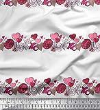 Soimoi Weiß Samt Stoff Blume Haufen, Text & Herz Stoff