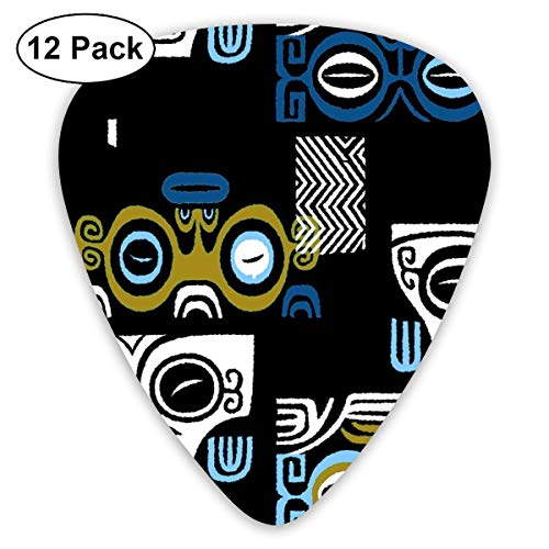 Micentury Tikis 8b_2224 Classic Celluloid Picks, 12-Pack, For Electric Guitar, Acoustic Guitar, Mandolin, And Bass