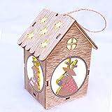 Hukz Weihnachten LED-Licht Holzpuppen Haus Villa Weihnachtsschmuck Weihnachtsbaum hängende Dekor,6.5x6x11 cm,Weihnachtsbaum Hängen, Hängende Dekoration, Hauptdekorationen, Tischdekoration (B)