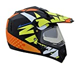 Vega Offroad Multicolour designer helmet Black with yellow (Outer Visor and Inner Goggle Visor) (S - 56 Cms, Plain Visor)