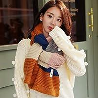 CXIGUA Meine Damen Schal Winter Streifen Lange Studenten Aus Gewirken Verdickung Warmen Kragen
