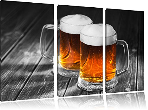 two-beer-mugs-beer-black-white-3-piece-canvas-picture-120x80-image-on-canvas-xxl-huge-pictures-compl