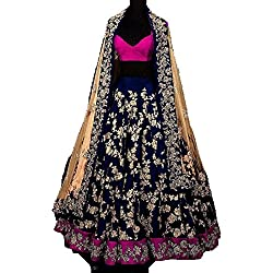 Everest Enterprise Women's Silk & Banglory Semi-Stitched Long Cholis(blueprincess1_blue_Free Size)
