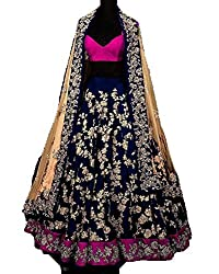 Everest Enterprise Women's Silk & Banglory Semi-Stitched Long Cholis(blueprincess1_blue_Free Size)