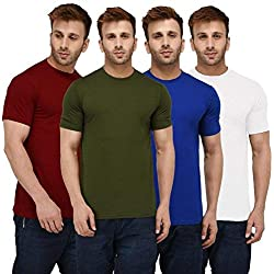 London Hills Solid Men Half Sleeve Round Neck Rust Red, Olive Green, Blue, White T-Shirts Combo (Pack of 4)