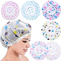 Deriz 6 Pc Shower Cap Bath Shower Cap For Women Shower Caps For Women Reusable Waterproof Women Shower Cap Girls Shower…