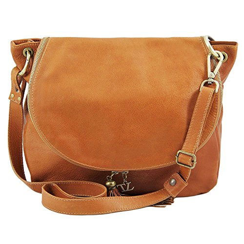 Tuscany Leather - TL Bag - Borsa morbida a tracolla con nappa Blu scuro - TL141110/107 Nero
