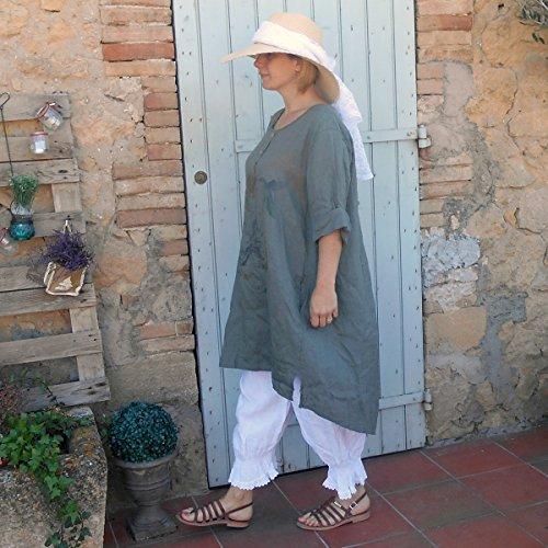 Coklico - Robe Tunique Lin motifs - 44 46 48 - M. Sucrette Kaki