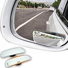 Espejo retrovisor convexo para coches, visión trasera de 360º, sin puntos ciegos, diseño ajustable con rotación, cristal curvado ABS de alta calidad para vehículos; 2 unidades